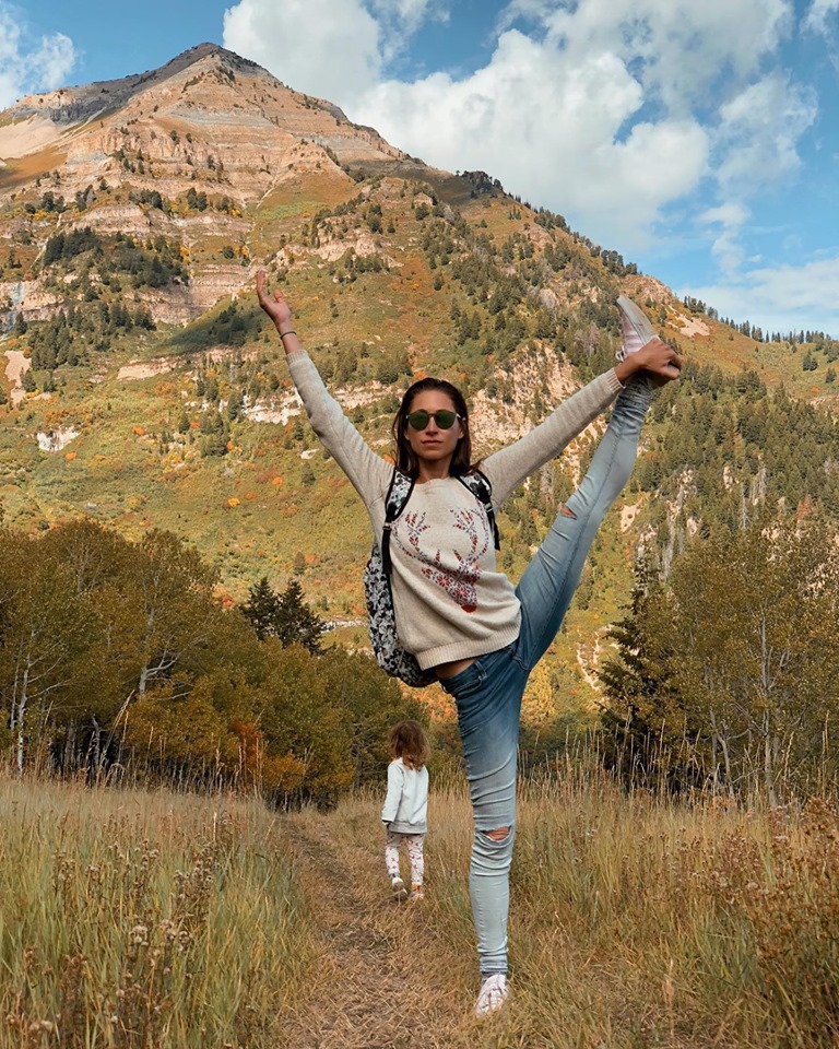 Tara practicing yoga at Sundance